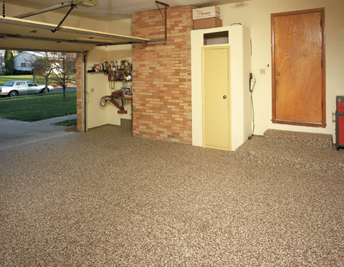 garage floor with a decorative treatment on it