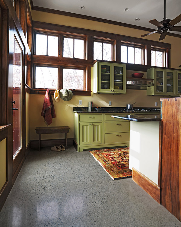 exposed aggregate finish in a concrete floor with radiant heating - Michael Frost of Vermont Eco-Floors, of Charlotte, Vt., created the polished exposed aggregate finish on this heated floor. The contractor was BauHeim Builders, based in Colchester, Vt. Photo courtesy of Vermont Eco-Floors
