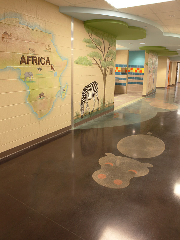 This swimming hippopotamus at Big Sandy Elementary was colored using Black and Grey shades from AmeriPolish and Rose Quartz from Prosoco's Consolideck GemTone line.