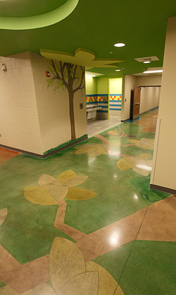 Colored concrete in a school