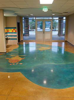 Painted floor in an elementary school
