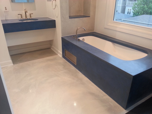 Troy Lemon, Cornerstone Decorative Concrete, Fennville, Mich., completed this bathroom in a Chicago home for Sam Averbuch, president of the Preval division of Chicago Aerosol.