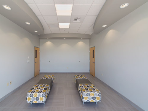 The lobby area features: Ardex X 77 Microtec Fiber Reinforced Thin Set Mortar; Ardex FL Rapid Set, Flexible, Sanded Grout; and Ardex X 5 Thin Set Mortar.