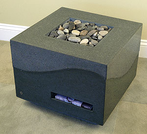 Concrete cube with center area for filled with river stones.