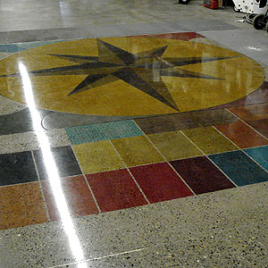 A 22-color palette of dyes was used to color the warehouse floor of Van Mason Coatings in Calgary, Alberta, Canada.